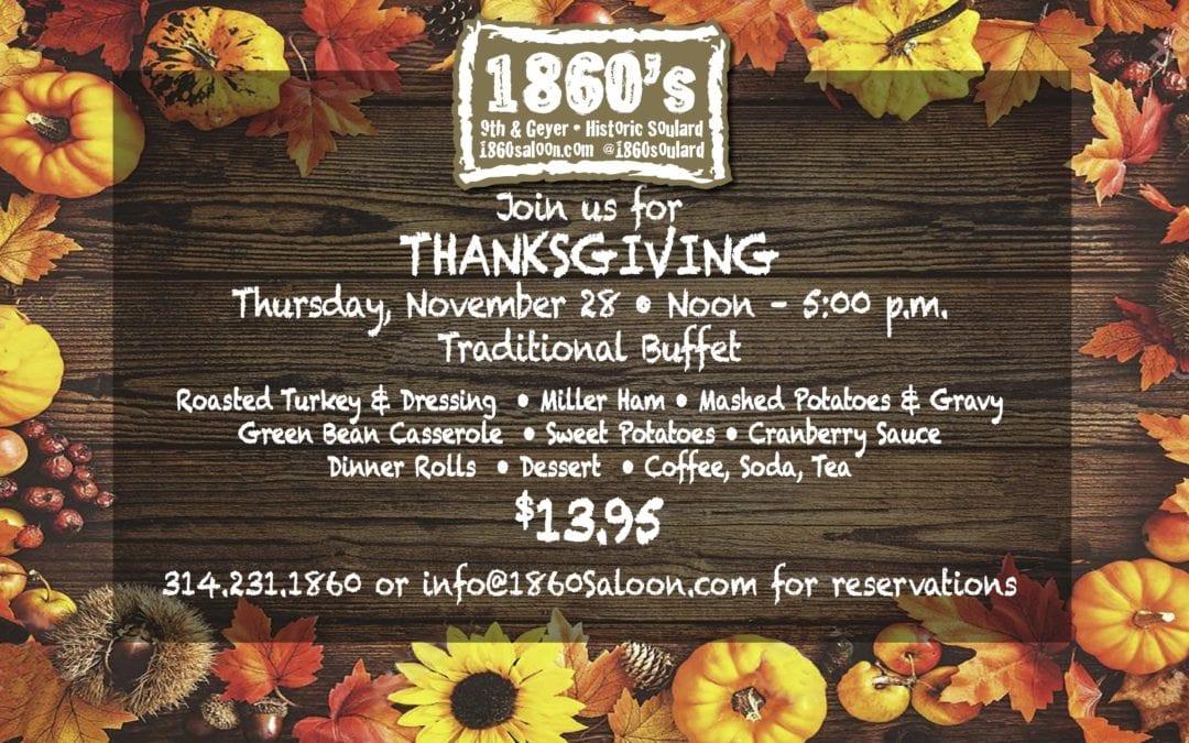 Thanksgiving Buffet! Thurs. 11/28 Noon – 5 pm