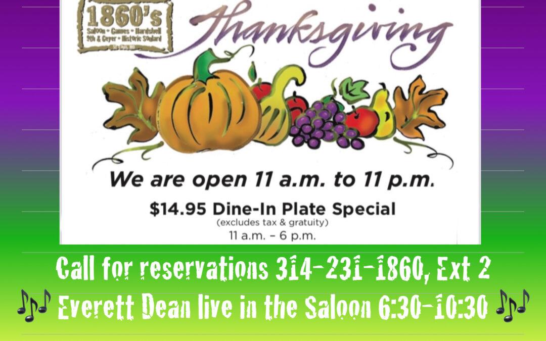 thanksgiving at 1860 Saloon, Game Room & Hardshell Café