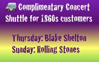 Customers – Shuttle to Blake Shelton & the Rolling Stones!